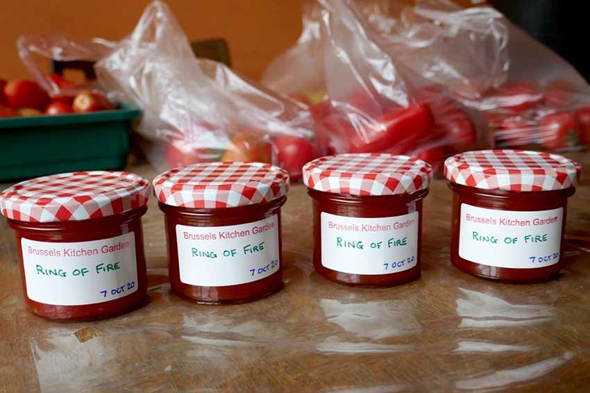 Chilli jam in jars