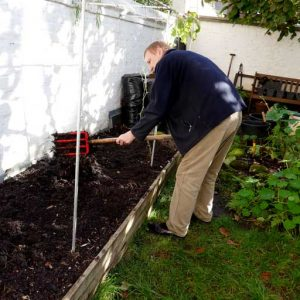 Forking the raised bed