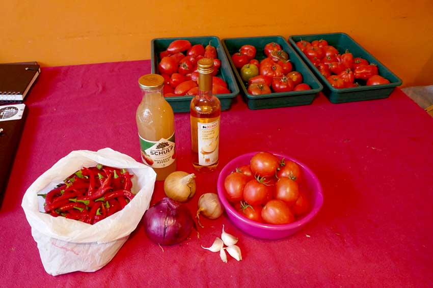 Tomato sauce kit laid out on table with all the ingredients required