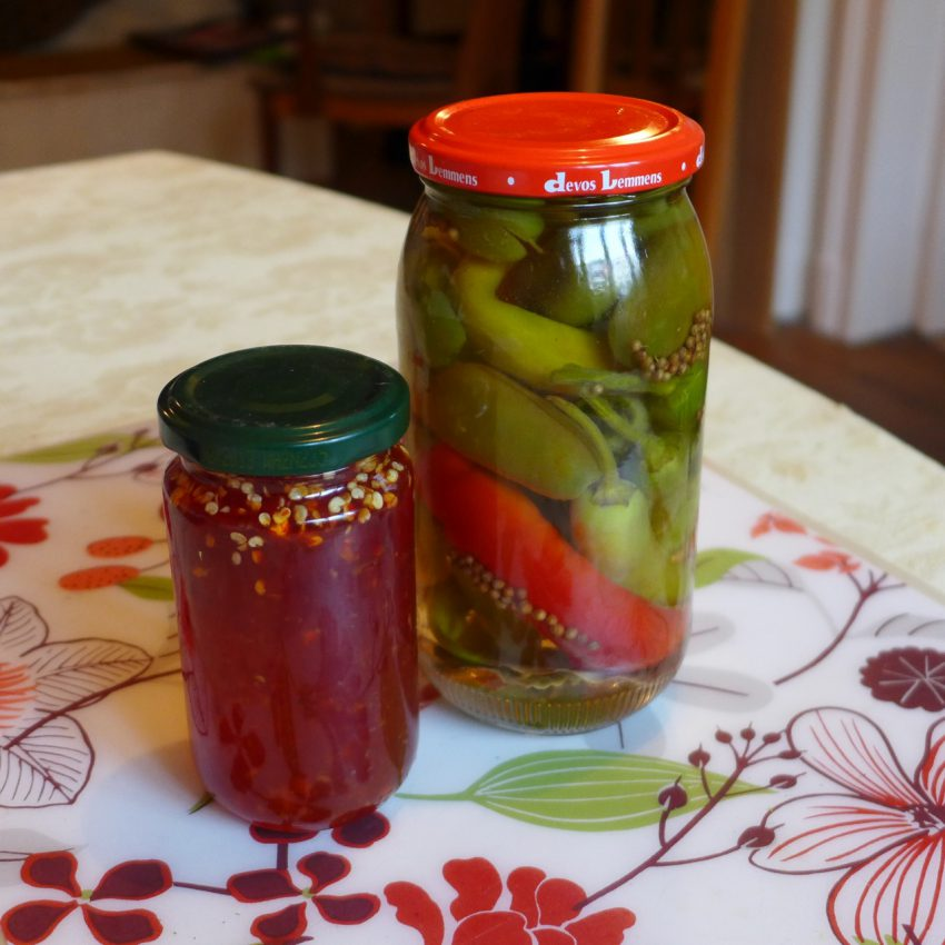 Chilli jam and pickled chillis