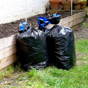 Extra green waste started in bags