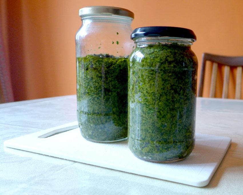Finished jars of Pesto