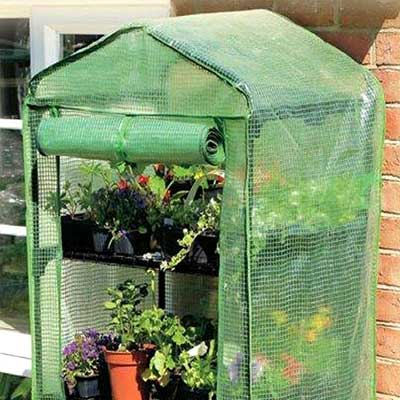 Gardman 4 Tier Mini Greenhouse with Re-inforced PVC Cover