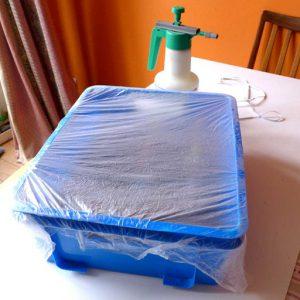 Plastic covers to retain moisture
